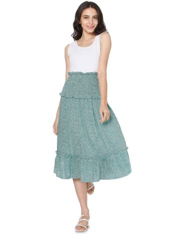 White Top with Green Smock Skirt